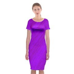 Purple pattern Classic Short Sleeve Midi Dress