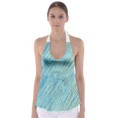 Light blue pattern Babydoll Tankini Top