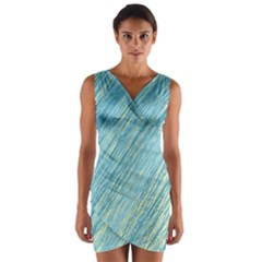 Light blue pattern Wrap Front Bodycon Dress