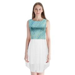 Light blue pattern Sleeveless Chiffon Dress