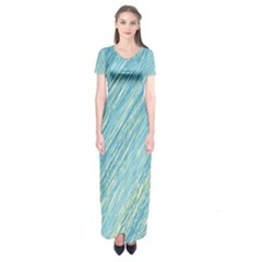 Light blue pattern Short Sleeve Maxi Dress