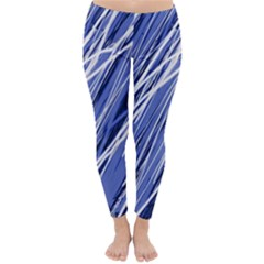 Blue elegant pattern Winter Leggings
