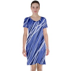 Blue elegant pattern Short Sleeve Nightdress