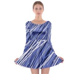 Blue elegant pattern Long Sleeve Skater Dress