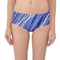 Blue elegant pattern Mid-Waist Bikini Bottoms