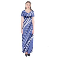 Blue Elegant Pattern Short Sleeve Maxi Dress
