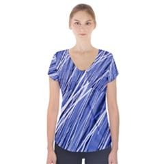 Blue Elegant Pattern Short Sleeve Front Detail Top