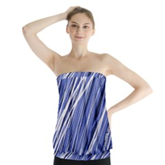 Blue elegant pattern Strapless Top