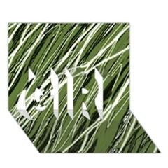 Green decorative pattern GIRL 3D Greeting Card (7x5)