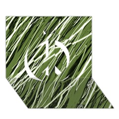 Green decorative pattern Peace Sign 3D Greeting Card (7x5)