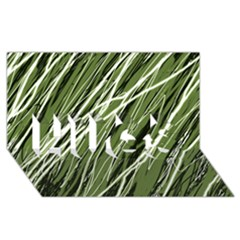 Green decorative pattern HUGS 3D Greeting Card (8x4)