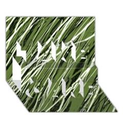 Green decorative pattern TAKE CARE 3D Greeting Card (7x5)