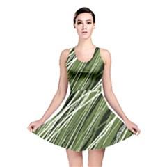 Green decorative pattern Reversible Skater Dress
