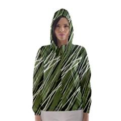 Green decorative pattern Hooded Wind Breaker (Women)