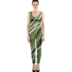Green decorative pattern OnePiece Catsuit