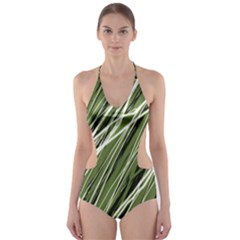 Green decorative pattern Cut-Out One Piece Swimsuit