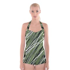 Green decorative pattern Boyleg Halter Swimsuit
