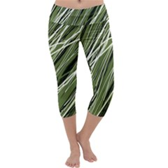Green decorative pattern Capri Yoga Leggings