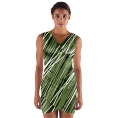 Green Decorative Pattern Wrap Front Bodycon Dress