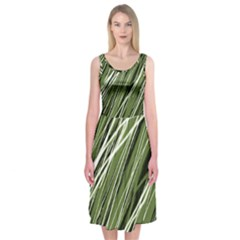 Green decorative pattern Midi Sleeveless Dress