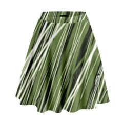 Green Decorative Pattern High Waist Skirt