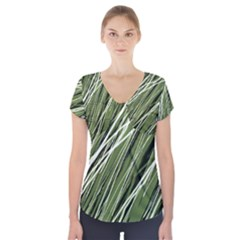 Green decorative pattern Short Sleeve Front Detail Top