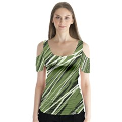 Green decorative pattern Butterfly Sleeve Cutout Tee