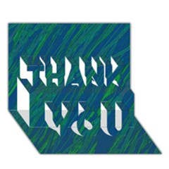 Green pattern THANK YOU 3D Greeting Card (7x5)