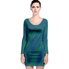 Green pattern Long Sleeve Bodycon Dress