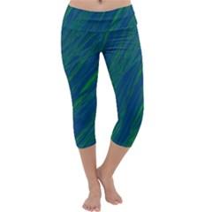 Green Pattern Capri Yoga Leggings