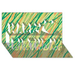 Green and orange pattern Happy Birthday 3D Greeting Card (8x4)