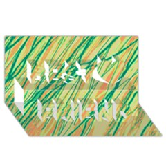 Green and orange pattern Best Friends 3D Greeting Card (8x4)
