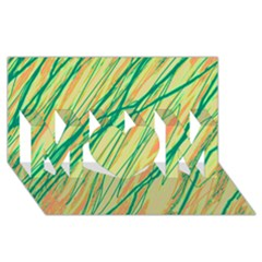 Green and orange pattern MOM 3D Greeting Card (8x4)