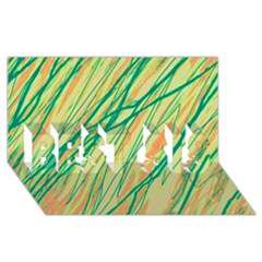 Green and orange pattern BEST SIS 3D Greeting Card (8x4)