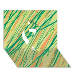 Green and orange pattern Ribbon 3D Greeting Card (7x5)