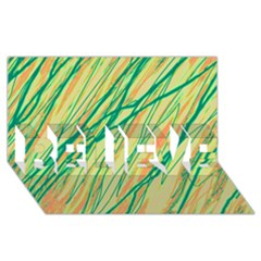 Green and orange pattern BELIEVE 3D Greeting Card (8x4)