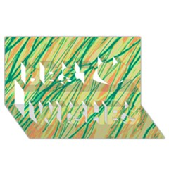 Green and orange pattern Best Wish 3D Greeting Card (8x4)