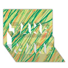 Green and orange pattern TAKE CARE 3D Greeting Card (7x5)