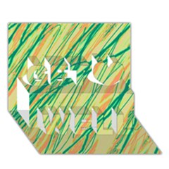 Green and orange pattern Get Well 3D Greeting Card (7x5)