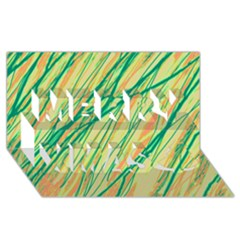 Green and orange pattern Merry Xmas 3D Greeting Card (8x4)