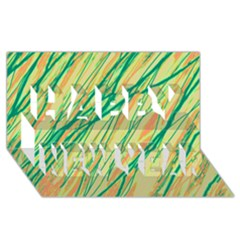 Green and orange pattern Happy New Year 3D Greeting Card (8x4)