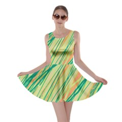 Green and orange pattern Skater Dress