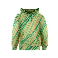 Green and orange pattern Kids  Zipper Hoodie
