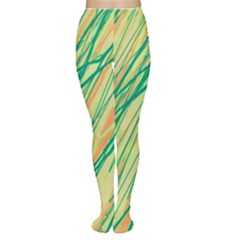 Green and orange pattern Women s Tights