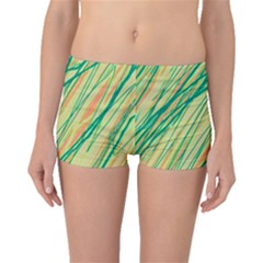 Green and orange pattern Boyleg Bikini Bottoms