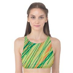 Green and orange pattern Tank Bikini Top