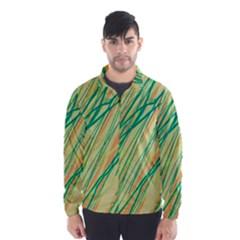 Green And Orange Pattern Wind Breaker (men)