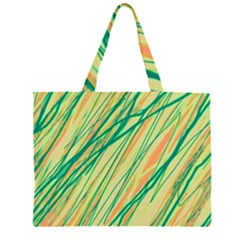 Green and orange pattern Large Tote Bag
