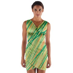 Green and orange pattern Wrap Front Bodycon Dress