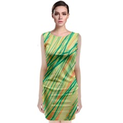 Green and orange pattern Classic Sleeveless Midi Dress